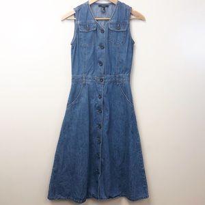 F21 Denim Sleeveless Button Down Dress